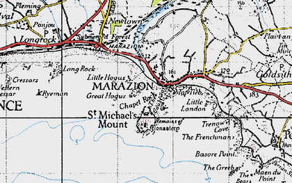 Old map of Marazion in 1946