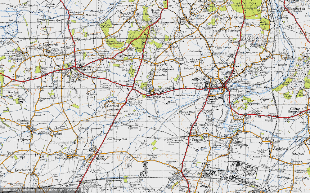 Old Map of Historic Map covering Abingdon Common in 1947
