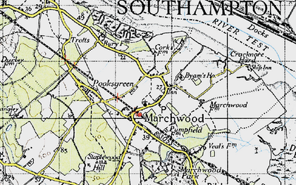 Old map of Marchwood Park in 1945