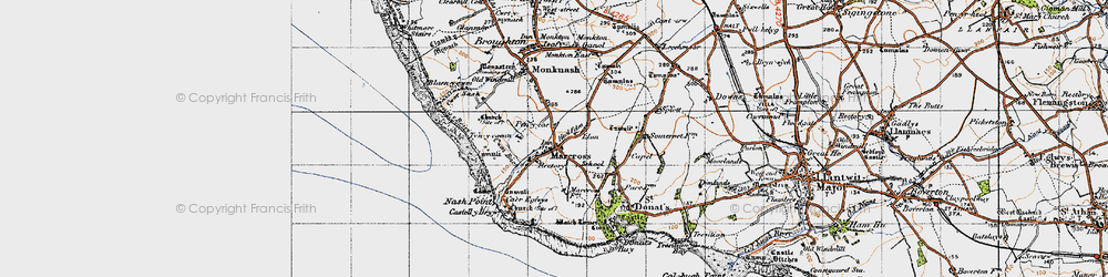 Old map of Marcross in 1947