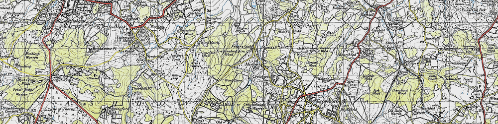 Old map of Wood Eaves in 1940