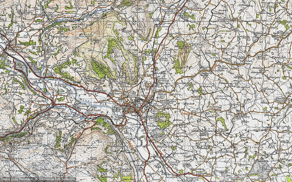 Old Map of Historic Map covering Afon Gafenni in 1947
