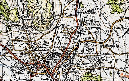 Old map of Afon Gafenni in 1947