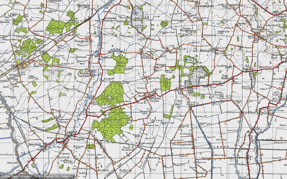 Old Map of Historic Map covering Toft Grange in 1946