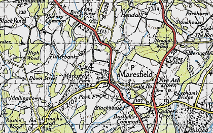 Old map of Maresfield in 1940