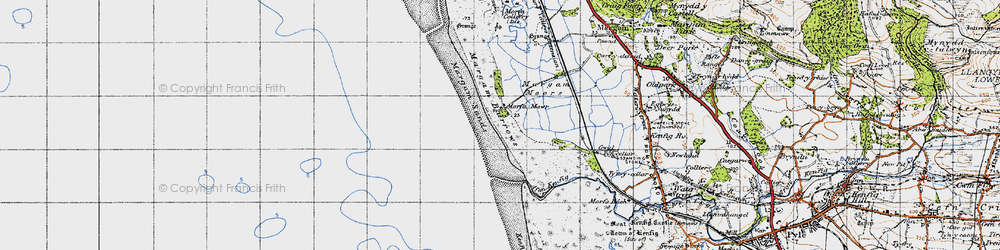 Old map of Afon Cynffig in 1947