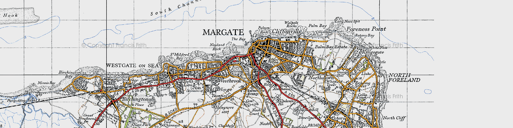 Old map of Margate in 1947