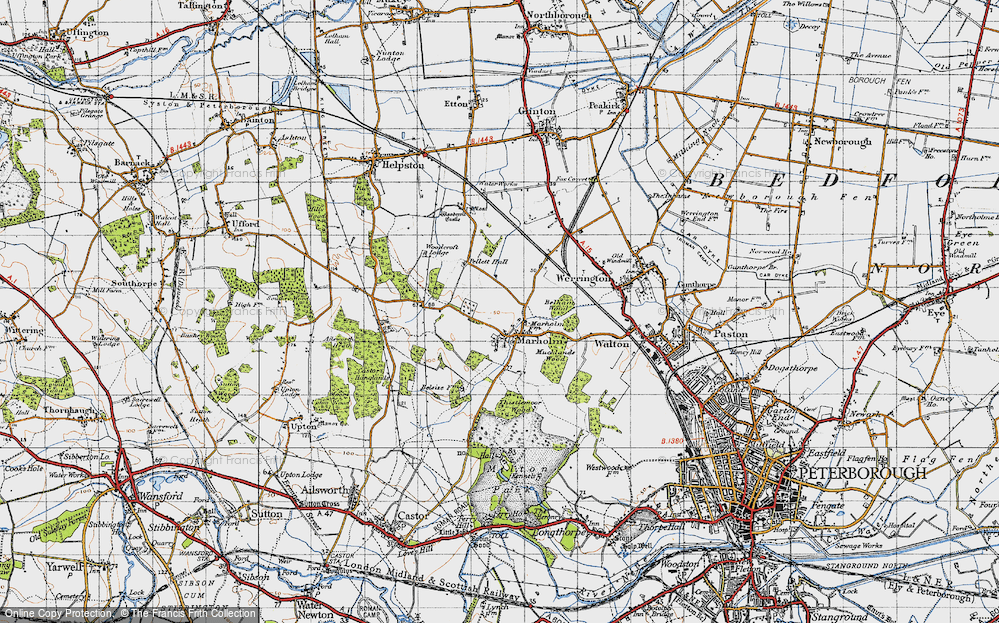 Old Map of Historic Map covering Woodcroft Lodge in 1946