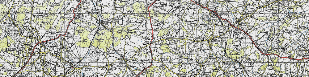Old map of Mark Cross in 1940