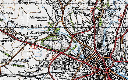 Old map of Markeaton in 1946
