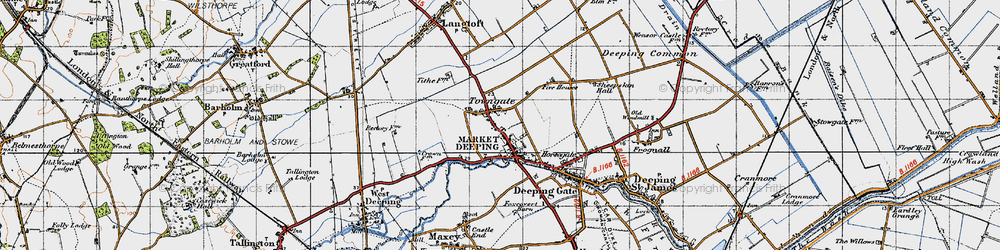 Old map of Market Deeping in 1946