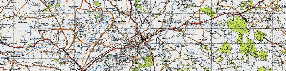 Old map of Market Drayton in 1947