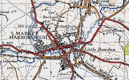 Old map of Market Harborough in 1946