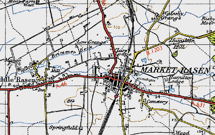 Old map of Market Rasen in 1946