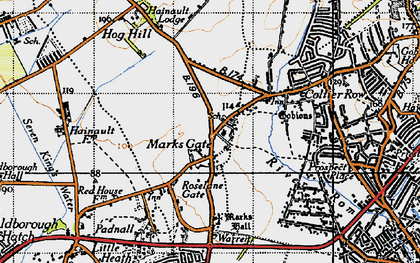 Old map of Marks Gate in 1946