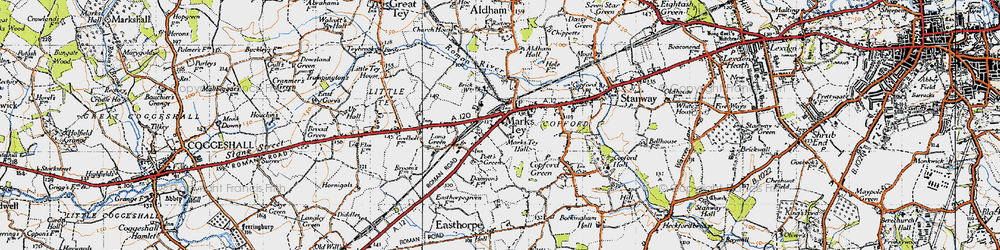 Old map of Aldham Hall in 1945
