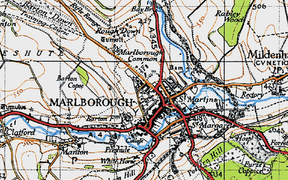Old map of Marlborough in 1940