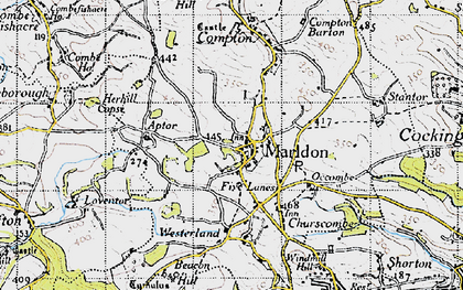 Old map of Marldon in 1946