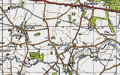 Old map of Marlingford in 1945