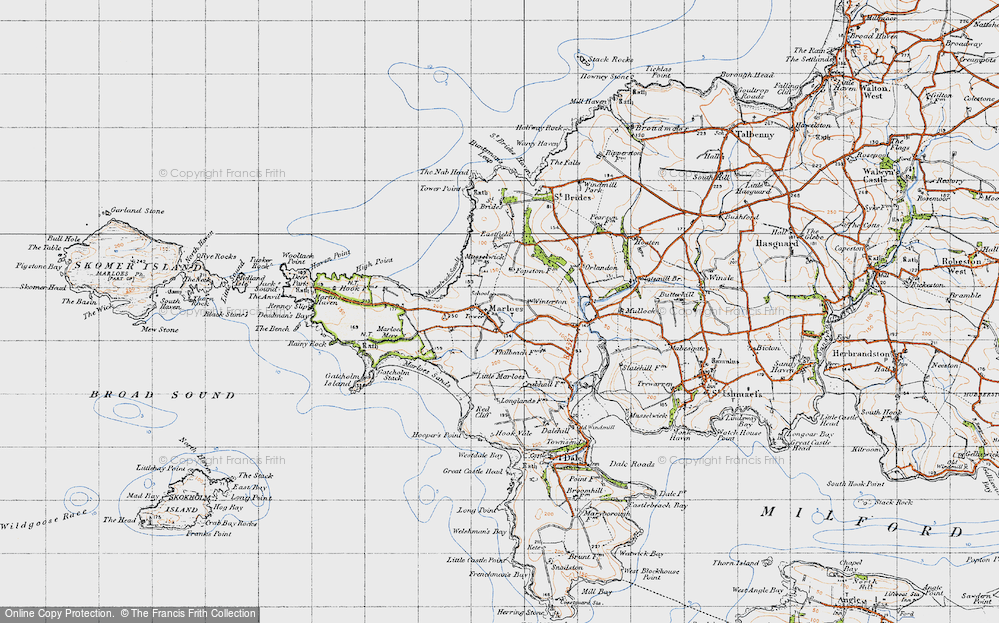 Old Map of Historic Map covering Albion Sands in 1946