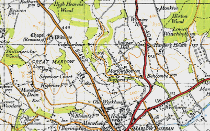 Old map of Marlow Bottom in 1947