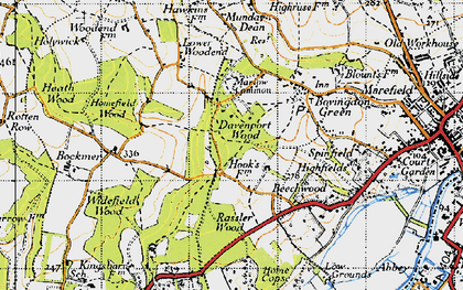 Old map of Marlow Common in 1947