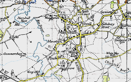 Old map of Marnhull in 1945