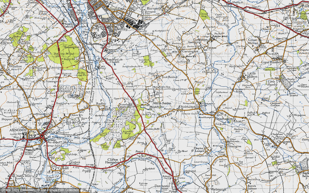 Old Map of Historic Map covering Baldon Brook in 1947