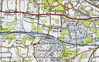 Old map of Benham Park in 1945