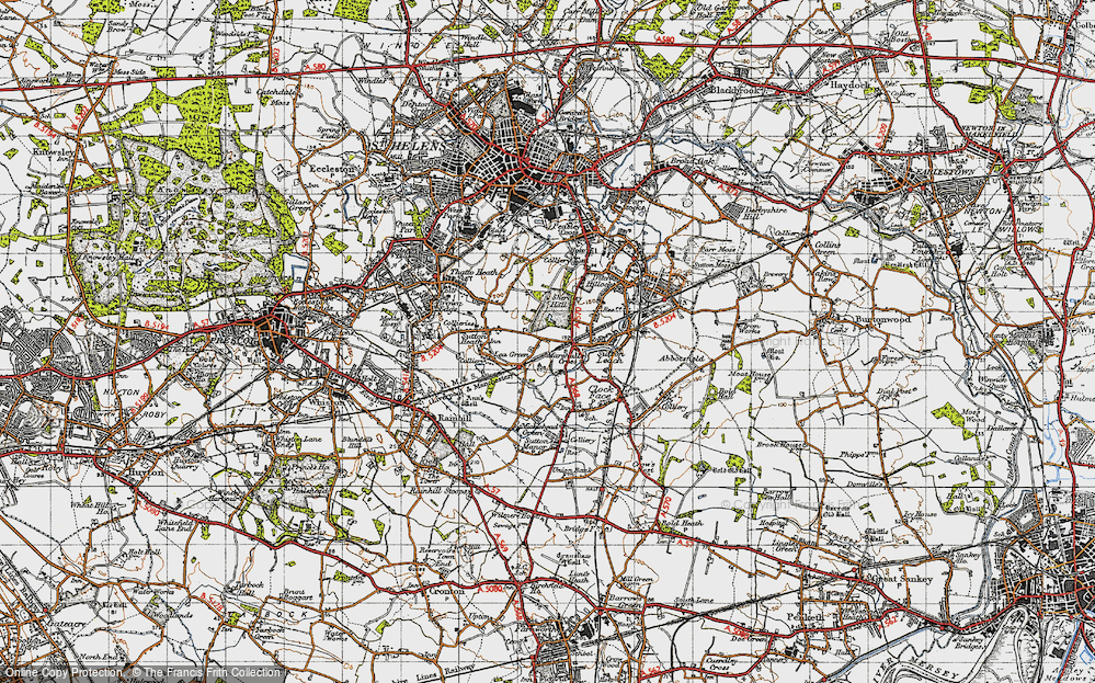 Old Map of Historic Map covering Lea Green Sta in 1947