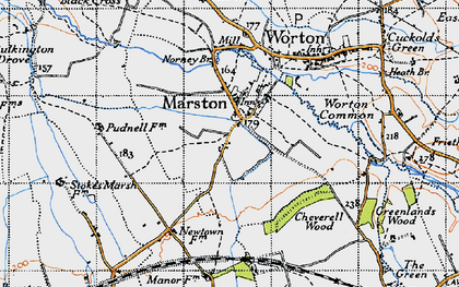 Old map of Worton Common in 1940