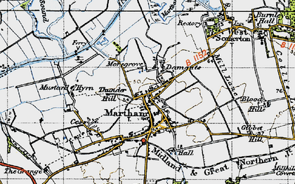 Old map of Martham in 1945
