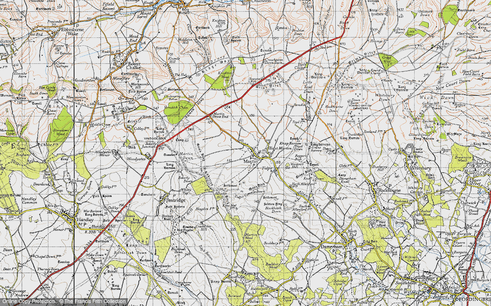 Old Map of Historic Map covering Tidpit Common Down in 1940
