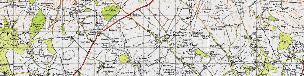 Old map of Tidpit Common Down in 1940