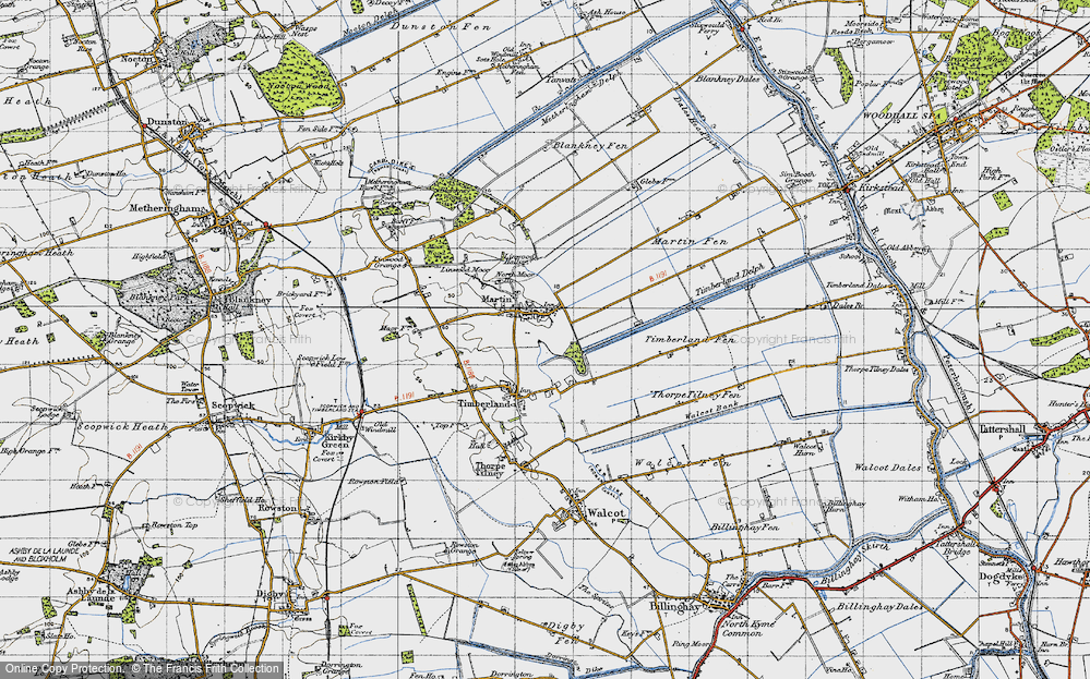 Old Map of Historic Map covering Linwood Moor in 1946