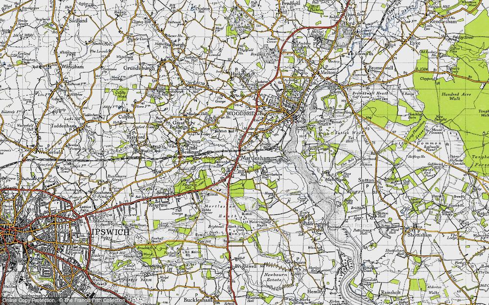 Old Map of Martlesham, 1946 in 1946