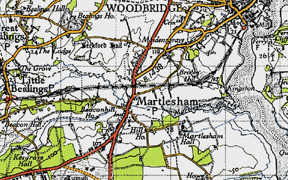 Old map of Martlesham in 1946