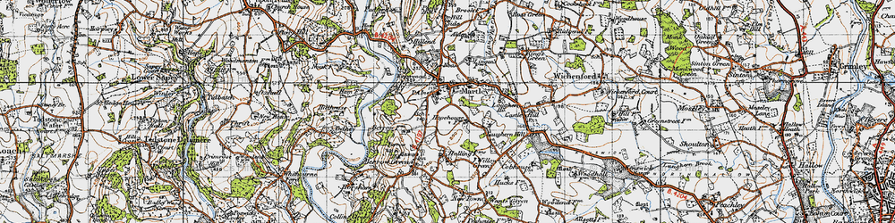 Old map of Martley in 1947