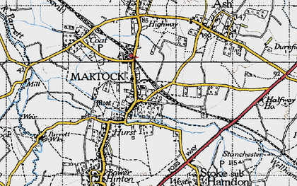 Old map of Martock in 1945