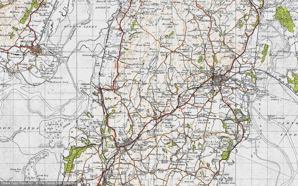 Old Map of Historic Map covering Lindal Moor in 1947
