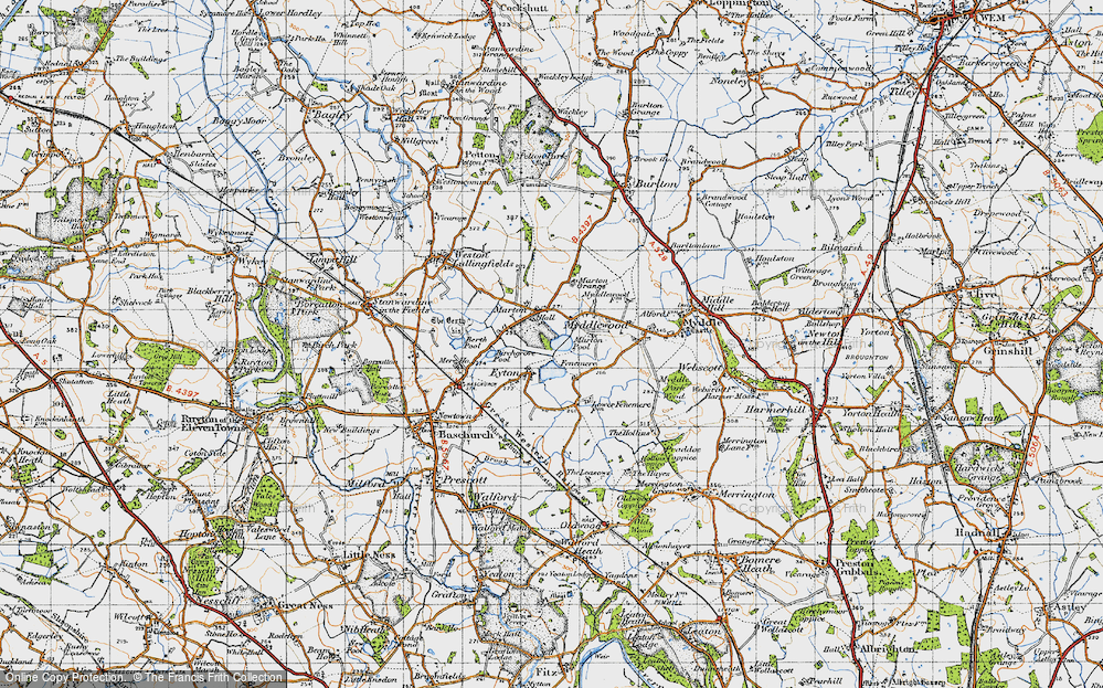 Old Map of Historic Map covering Fenemere in 1947