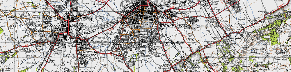 Old map of Marton Grove in 1947