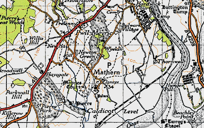 Old map of Mathern in 1946
