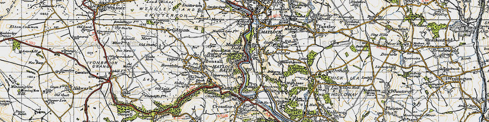 Old map of Matlock Bath in 1947