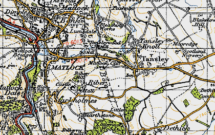 Old map of Matlock Cliff in 1947