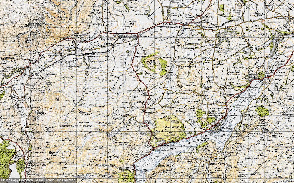 Old Map of Historic Map covering Bald Howe in 1947