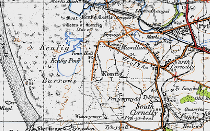 Old map of Mawdlam in 1947
