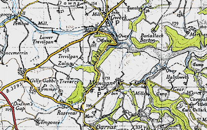 Old map of Mawgan in 1946