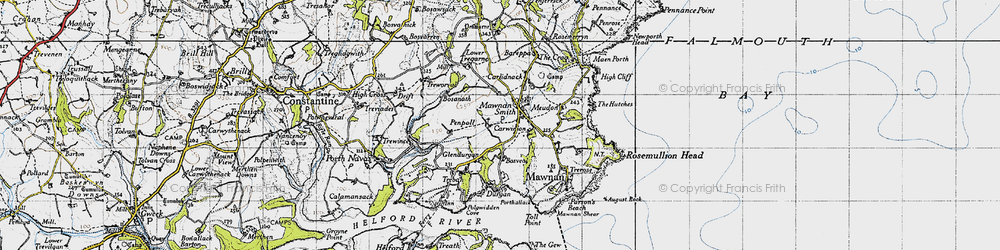 Old map of Mawnan Smith in 1946