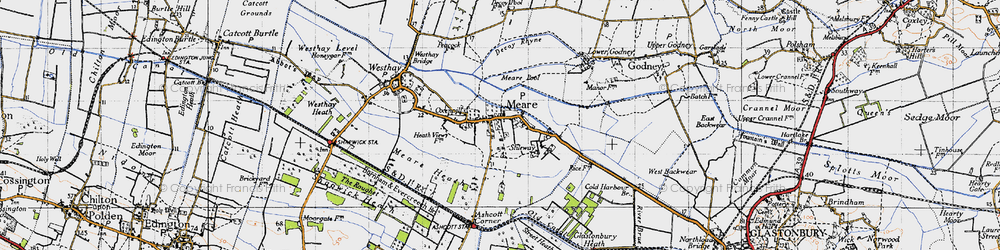 Old map of Meare in 1946